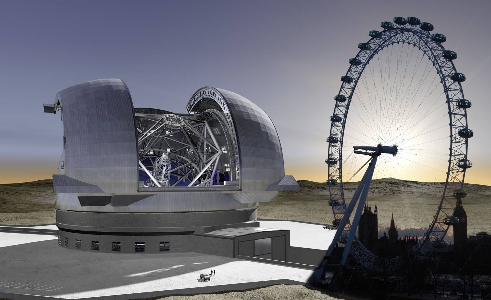Preliminary E-ELT Concept Image with London Eye, courtesy of ESO/H. Zodet & STFC/Jason Cowan.