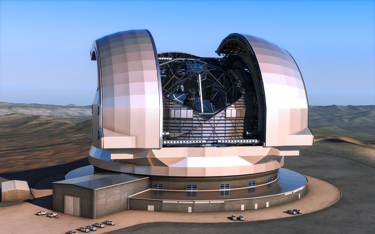 Artist's impression of the European Extremely Large Telescope (E-ELT) in its enclosure. Credit: ESO/L. Calçada